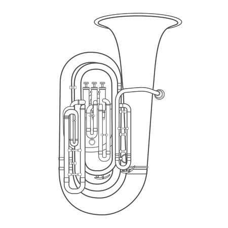 wind instrument: vector dark grey outline tuba wind instrument vector illustration white background Illustration