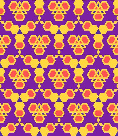 Vektör mor menekşe kırmızı turuncu renk soyut üçgen kentsel fütüristik seamless pattern