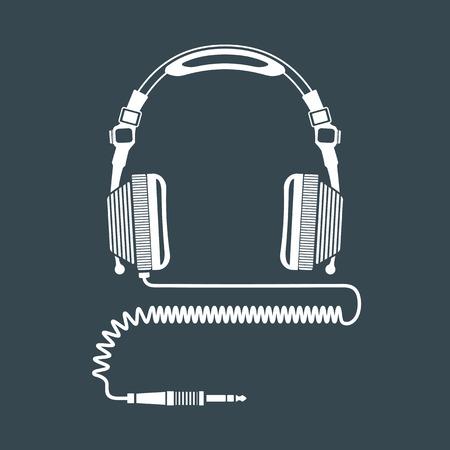 코일 코드 및 잭 커넥터 어두운 배경 벡터 흰색 단색 DJ 헤드폰 일러스트