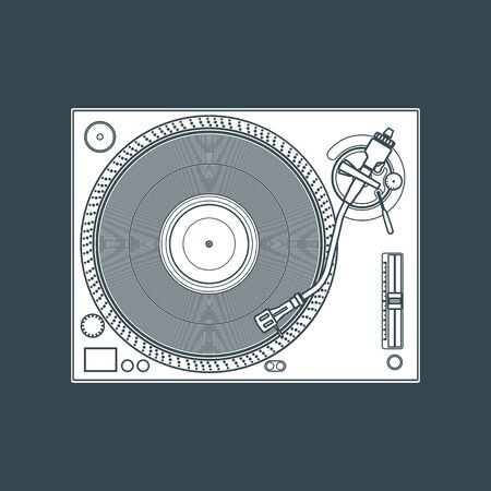 solid color: vector white solid color vinyl dj turntable dark background
