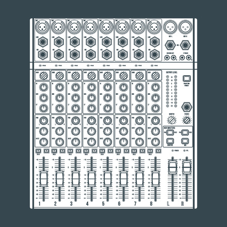 sound mixer: vector white solid color concert sound mixer with knobs sliders and inputs dark background