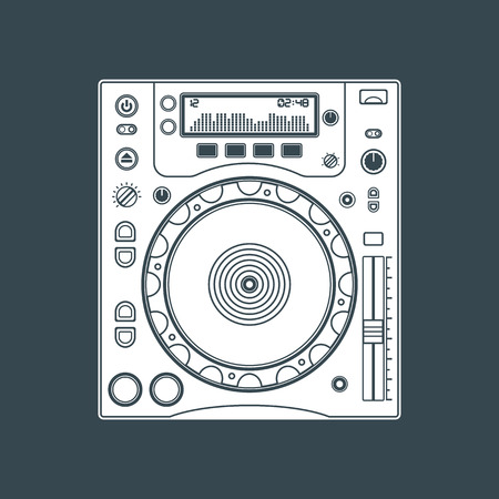 solid color: vector white solid color professional cd turntable dark background Illustration