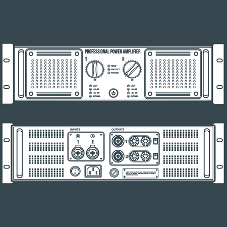 solid color: vector white solid color stereo speaker amplifier front back panels dark background