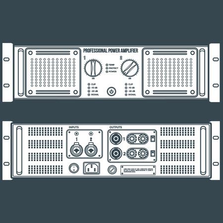 vektör beyaz düz renk stereo hoparlör yükselticisi ön arka paneller karanlık bir arka plan Illustration