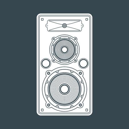 vektör beyaz düz renk konser uydu hoparlör karanlık bir arka plan Illustration