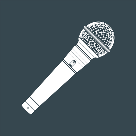 solid color: vector white solid color wireless microphone dark background Illustration