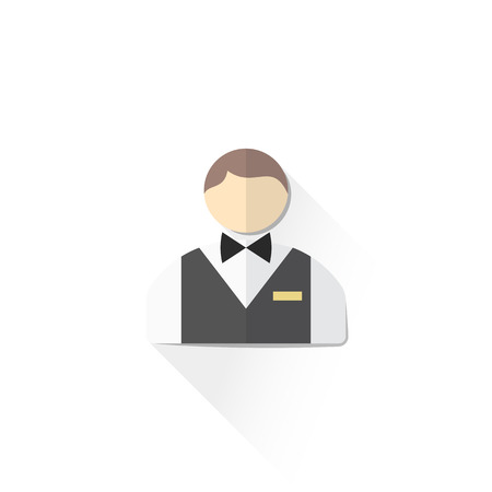 croupier: vector casino service staff croupier with butterfly bow and gold badge flat design isolated illustration on white background with shadow Illustration