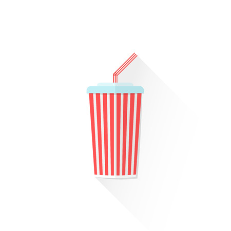 carbonated: vector red color paper carbonated drink cup with cap and straw flat design isolated illustration on white background with shadow Illustration