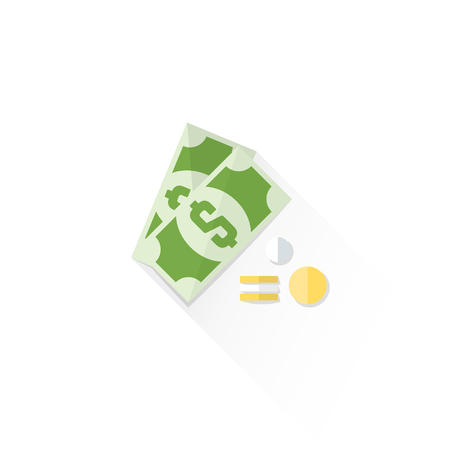 dime: vector dollar bill and coins colored flat design isolated cash money illustration on white background with shadow