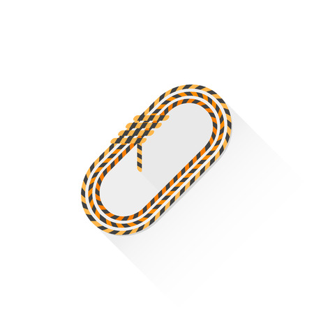 rappelling: vector orange color climbing coil of rope flat design colored isolated illustration on white background with shadow