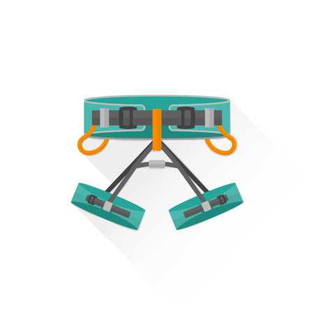 vector colored climbing sit harness flat design colored isolated illustration on white background with shadow Illustration