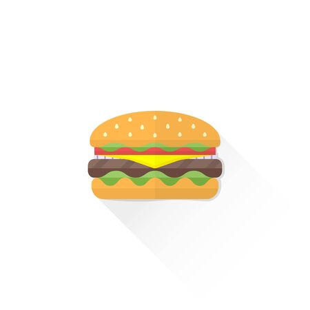 sesame seed: vector fast food hamburger with beef fresh lettuce onion tomato sesame seed cheese flat design isolated illustration on white background with shadow