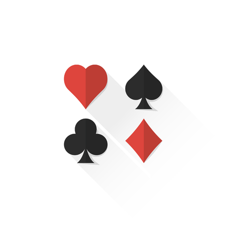 ace of spades: vector colored playing cards suits set hearts spades clubs diamonds isolated flat design illustration on white background with shadow Illustration
