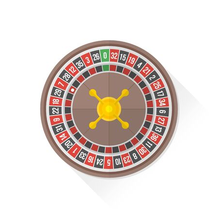 wheel of fortune: vector gambling casino roulette wheel isolated flat design illustration on white background with shadow Illustration