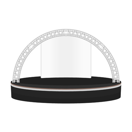 stage lighting: vector black color flat design estrade rounded stage metal truss with empty white background isolated illustration
