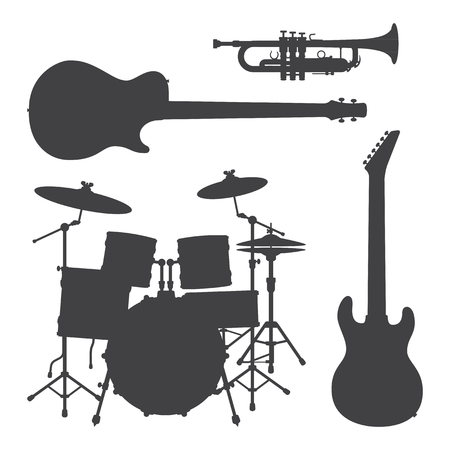 electro: vector bass guitar trumpet drum set electro guitar dark grey silhouettes illustration set