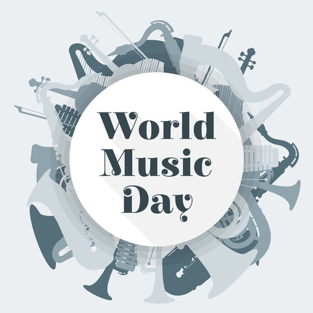 ベクトル フラット デザイン世界音楽日丸めポスター イラスト サックス ハープ チューバ トランペット ヴァイオリン木琴薄い灰色背景 写真素材 - 45224789