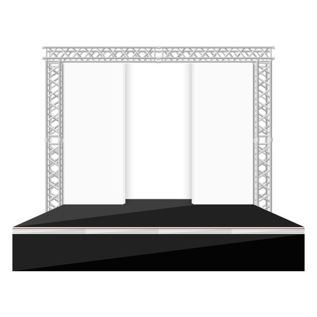 metal: vector black color flat design high stage metal truss with empty back scenes white background isolated illustration