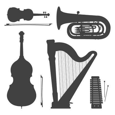 vector xylophone violin harp bass tuba contrabass cello dark grey silhouettes illustration set