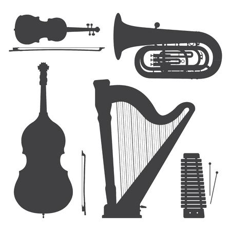 vector xylophone violin harp bass tuba contrabass cello dark grey silhouettes illustration set