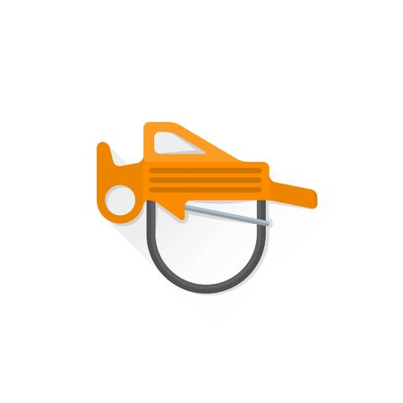 belay: vector colored climbing belay rappel device flat design colored isolated illustration on white background with shadow