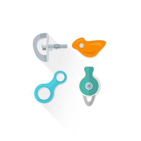 descender: vector colored climbing bolt hanger hold eight figure belay descender pulley colored isolated illustration on white background with shadow