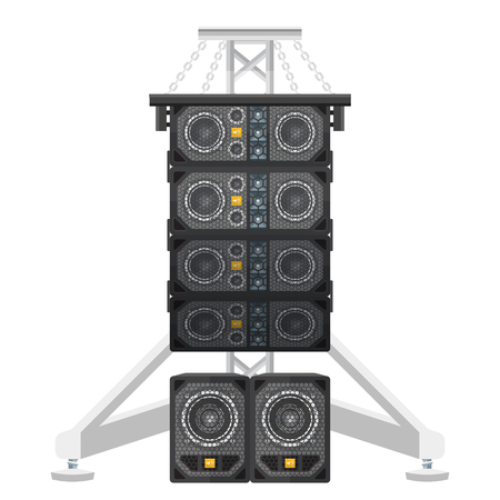 surround system: vector colored flat design line array loudspeakers satellites suspended metal truss subwoofers isolated illustration on white background Illustration