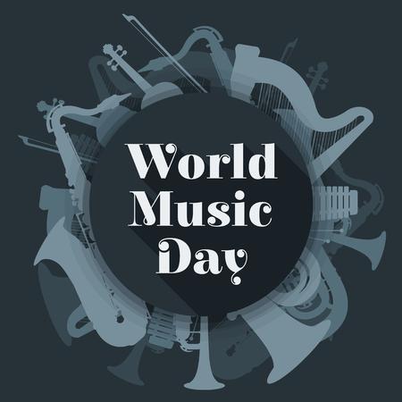 tuba: vector flat design world music day rounded poster illustration saxophone harp tuba trumpet violin xylophone dark grey color background