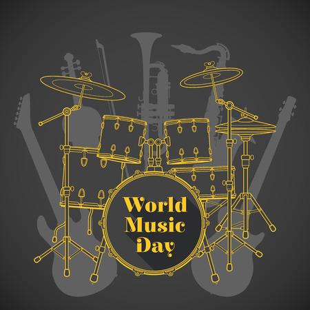 vector flat design world music day poster illustration yellow drum set electro bass guitars saxophone violin trumpet brown background