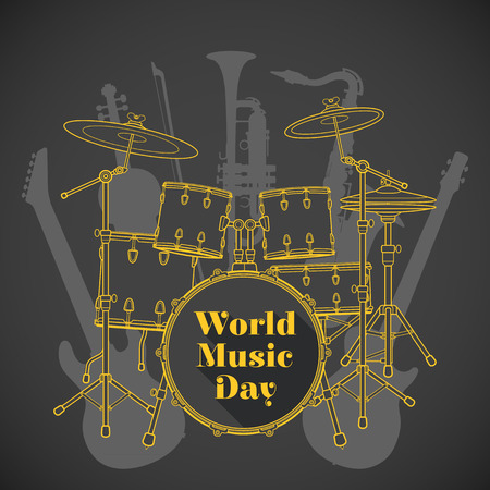 electro world: vector flat design world music day poster illustration yellow drum set electro bass guitars saxophone violin trumpet brown background