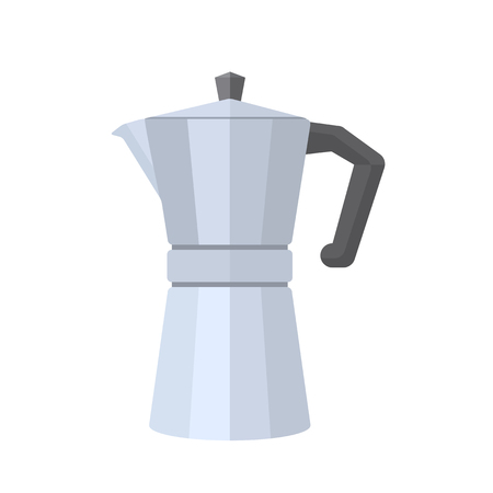 vector flat design iron grey color metal retro italian coffee maker with cap and handle isolated illustration on white background Ilustracja