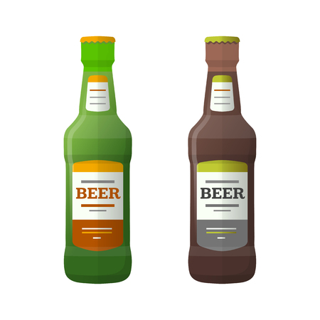 stout: vector green brown color flat design light lager dark stout beer bottles isolated illustration on white background Illustration