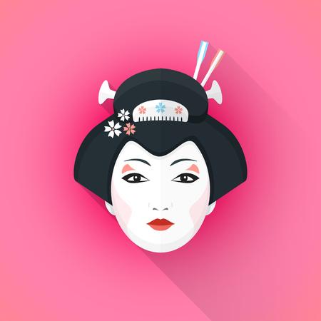 Pembe arka plan üzerine gölge izole illüstrasyon siyah saç tokalar ile vektör renk düz tasarım çekici japon geyşa yüz Illustration