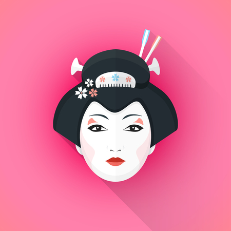 fashion portrait: vector color flat design attractive japanese geisha face with black hair hairpins with shadow isolated illustration on pink background Illustration