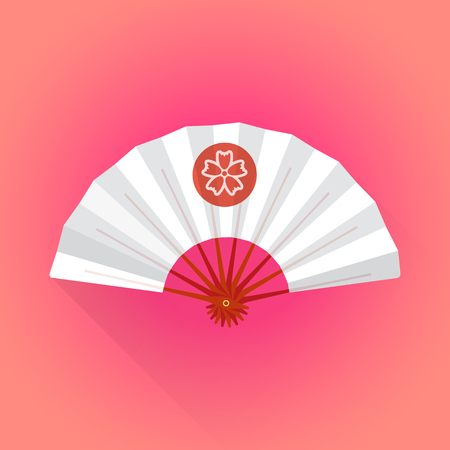 color fan: vector flat design white color japan hand-held fan with red circle flower sakura illustration on rep pink background long shadow