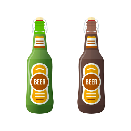 stopper: vector green brown color flat design light lager dark stout beer bottles lightning stopper isolated illustration on white background