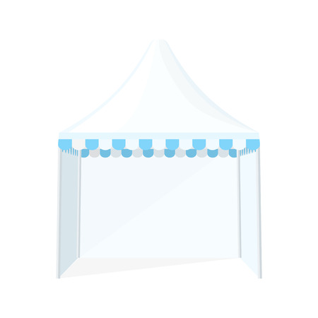 wedding tent: vector white light blue color flat design dome folding tent marquee illustration