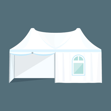 marquee: vector white light blue color twin dome folding tent marquee window illustration