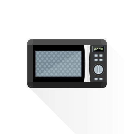 vektör siyah renk gri elemanları, modern tasarım düz mikrodalga fırın izole illüstrasyon beyaz arka Illustration