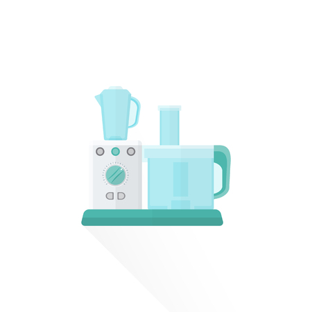food processor: vector white color green blue elements flat design food processor isolated illustration white background Illustration