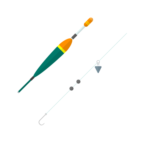 baited: vector colored flat design orange red green float metal hook lead plummets setup isolated illustration white background Illustration