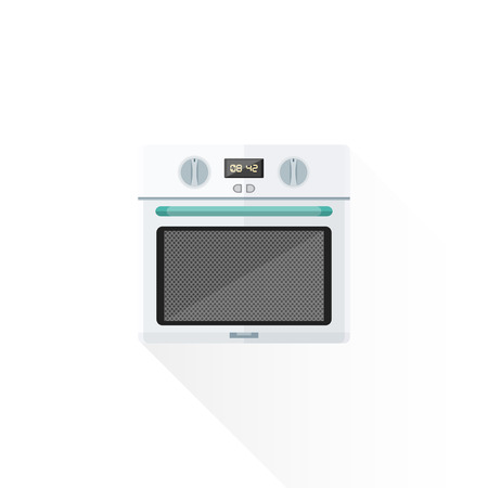 blue white kitchen: vector white color green blue elements flat design kitchen built-in oven isolated illustration white background