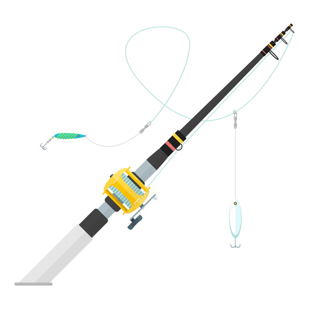 trolling: vector black color flat design trolling spinning fishing rod cork handle golden reel spoon-baits isolated illustration white background