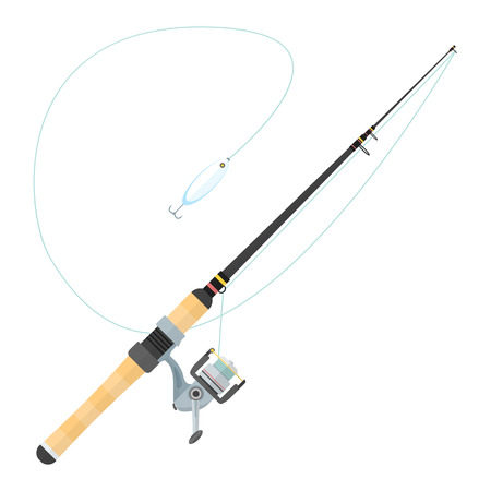 lure: vector black color flat design spinning fishing rod cork handle grey reel metal lure isolated illustration white background