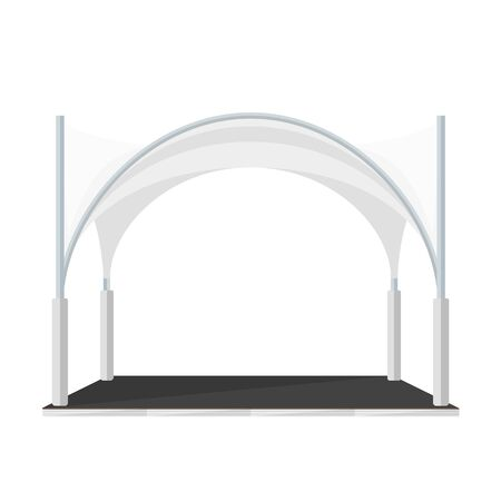 wedding reception decoration: vector white color flat design modern folding tent marquee pavilion illustration