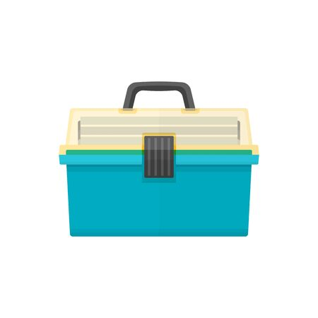 tackle box: vector green cyan color flat design fishing tackle box transparency yellow top isolated illustration white background Illustration
