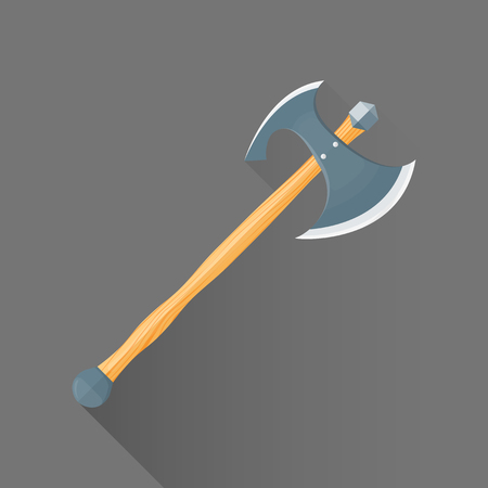 viking: vector colored flat design metal sharp double blade battle axe wood handle isolated illustration gray background long shadow Illustration