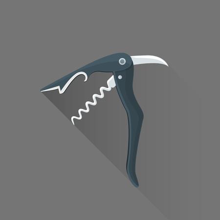 penknife: vector black color flat design sommelier knife corkscrew isolated illustration gray background long shadow Illustration