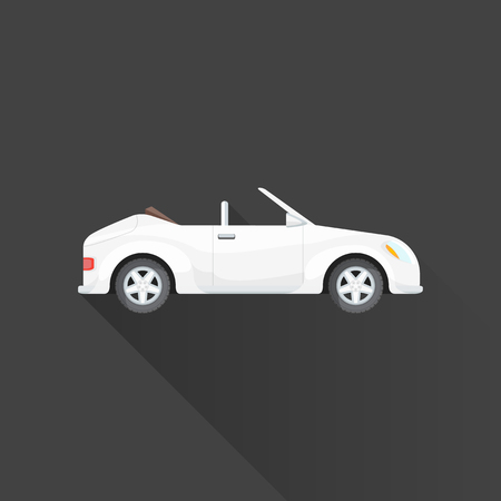 roadster: vector white color flat design convertible roadster vehicle body type illustration isolated gray background long shadow