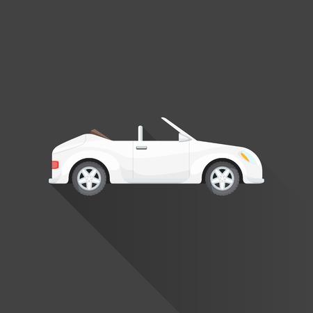 Vektor weiße Farbe flaches Design konvertierbaren Roadster Karosserie-Typ isoliert grauen Hintergrund langen Schatten Standard-Bild - 46530015